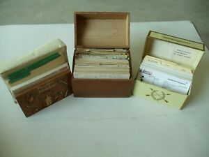 Vintage LOT Metal/Wood Recipe Boxes/Recipe Holder RECIPES HANDWRITTEN/CLIPPED