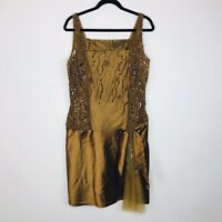 Sherry Haute Couture Women's Beaded Sleeveless Dress Size 12