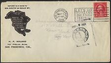 US 1924 SAN FRANCISCO ADVERTISING INSURANCE CO COVER W/LETS CO CITIZENS MILITARY