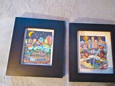 Pair Framed Shadowbox Fazzino Super Bowl 3-D Artwork Collage.Super Bowl 39 & 40.