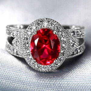 Natural 3.0CT Ruby 14K White Gold  Ring  CM141