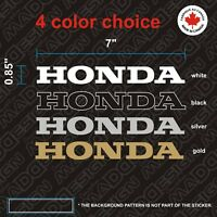 2X Honda STICKERS  vinyl decal 7'' autocollant White - Black - Silver or Gold