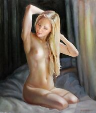 ORIGINAL NUDE PIN UP OIL PAINTING OF LOVELY YOUNG BLOND WOMAN ILLUSTRATION ART!