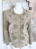 Sigrid Olsen Beige Leather Floral Perforated Blouse Button Front Top Size Medium