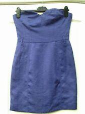 H&M polvo azul del telar jacquar Efecto Vestido Sin Tirantes Bandeau Cariño escote - 8