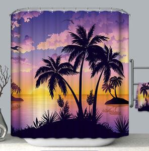 Palm Tree Island Sunset Silhouette Fabric Shower Curtain 70x70 Purple Orange Sky