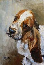 More details for sale basset hound signed dog print by susan harper unmounted