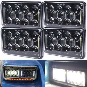 """4x6"""" Black LED Projector Headlights for KW Kenworth T800 T600 W900 Peterbilt 379"""