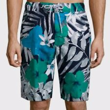 St. John's Bay Men's Swim Trunks Shorts Navy Fern Floral Size X-Large New