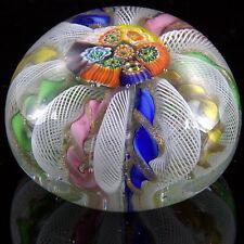 MURANO MILLEFIORI ZANFIRICO Aventurine Lutz LATTICINO Canework Glass PAPERWEIGHT