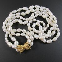 Baroque Freshwater Pearl Double Strand Necklace Gold Tone Box Clasp Hand Knotted