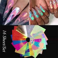 16pcs Nail Holographic Strip Tape Nail Art Sticker Laser Silver Stripe DIY Decal