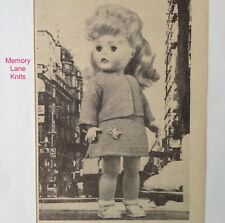 """Smart Town Suit & Undies Doll's Clothes Vintage Knitting PATTERN Dress 18"""".  74"""