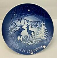 "Bing Grondahl Blue & White 1980 Jule After 7"" Plate Christmas in The Woods w/box"