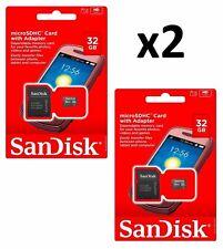 2xNew microSDHC SanDisk 32GB SDQM microSD with Adapter SDSDQM-032G-B35A (2 pcs.)