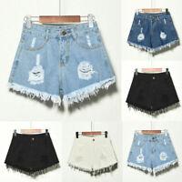 Women Summer High Waist Ripped Denim Shorts Jeans Hot Pants Retro Plus Size 6-22