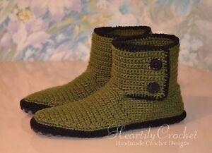 Handmade men's crochet slippers, knitted socks, wool slipper socks, house shoes