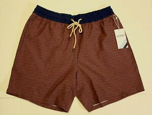 Fair Harbor Men's Bayberry Swim Trunks KB8 Red Waves Large NWT