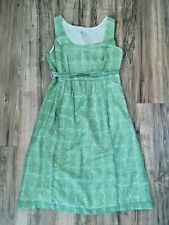 Women's A Pea In The Pod Green Silk Blend Rope Print Maternity Dress S USA