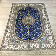 YILONG 4'x6' Blue Handmade Top Carpets Oriental Hand Knotted Silk Area Rugs 035C