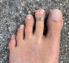 .925 Sterling Silver Mens >3 Line Twist< Toe Ring