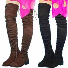 Winter Thigh High Boots Women Suede Leather Round Toe Over the Knee Boots Flats
