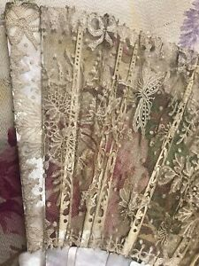 FINE RARE ANTIQUE FRENCH MOTHER OF PEARL Chantilly LACE Moths Floral Basket FAN