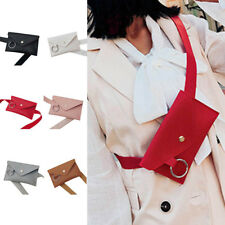 Women Simple Envelope PU Leather Waist Bag Fanny Pack Belt Bag Cute Chest Bags
