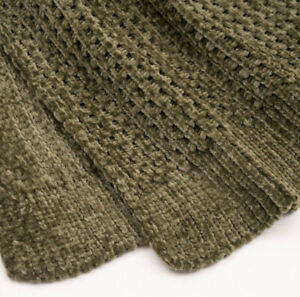 "Evergrace 50"" x 60"" Shiny Waffle Chenille Knit Throw Blanket Chambray Green"