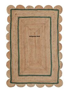 Scallop Rug Natural braided jute bohemian hemp carpet rug rustic look decor rugs