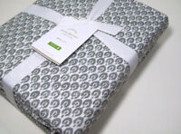 Pottery Barn Organic Cotton Gray Jerrie Pattern Queen Sheet Set New