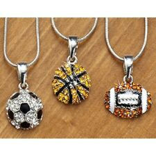 """DELUXE RHINESTONE SPORTS FOOTBALL NECKLACE 19"""" Silver Snake Chain New REG $28"""