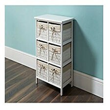 New Wicker Basket Style 6 Drawer Unit Bathroom Storage Furniture White