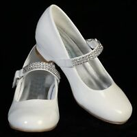 FREE POST Flower Girl,Bridesmaid,Communion Wedding Party Shoes White Sz UK12-3