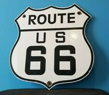 VINTAGE ROUTE 66 PORCELAIN GAS AUTO MOTHER ROAD SHIELD TRAVEL SERVICE SIGN