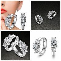 Fashion Women Jewelry Silver Plated Ear Hoop Earrings Zircon Wedding Ear Huggie