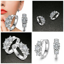 Fashion Women Jewelry Silver Plated Ear Hoop Earrings Zircon Wedding Ear Huggie