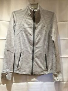 Lululemon Define Gray Stripe Vented Full Zip Jacket Sz 12