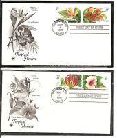 US SC # 3310-3313 Tropical Flowers FDC.Postal Commemorative society Cachet