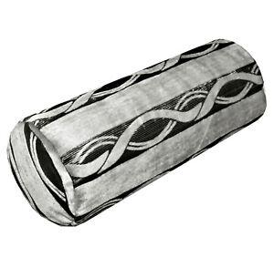 mq04g Silver Metallic Black Grey Wave Strip Shimmer Velvet Bolster Cover Case