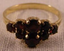 Vintage 8 KT Yellow Gold Genuine Garnet Ring  8 Stones    Size 7.5   Marked 333