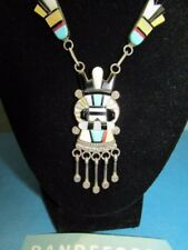 Vintage Silver A. Dewa Zuni Tribe Multi Color Stone Inlay Kachina Necklace 16""