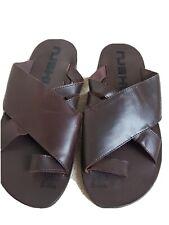NUSHU Mens Sandals Size 7. Brown Leather Slider slide on with toe strap