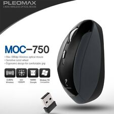 Genuine Pleomax Wireless Mouse MOC-750 1000dpi Nano Dongle For PC Laptop Black