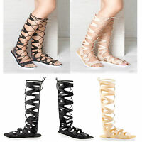 Womens Ladies Gladiator Sandals Knee High Lace Tie Up Cut Out Jelly Shoes Size