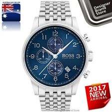 New Hugo Boss Mens Navigator Watch Silver Tone S/Steel Blue Dial Chrono 1513498