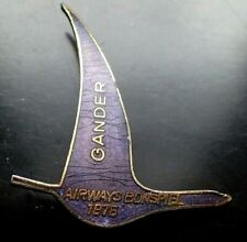 RARE Curling Lapel Pin - Gander Newfoundland Canada, 1975 Airways Airspiel