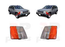 FOR JEEP GRAND CHEROKEE 1993 - 1996 NEW FRONT MARKER LAMP WHITE ORANGE PAIR SET