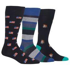 Men's Chaps 5 Pairs Striped Flag Dog Dots Design Supersoft Crew Dress Socks