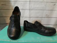 Clarks Collection Soft Cushion Slip On Comfort Walking Shoes Black Leather 7M